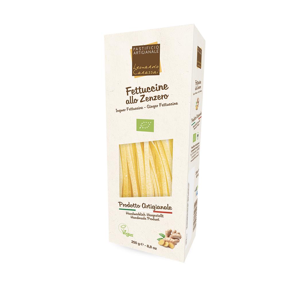 Fettuccine allo zenzero Bio Vegan con carciofi, nocciole e shiso