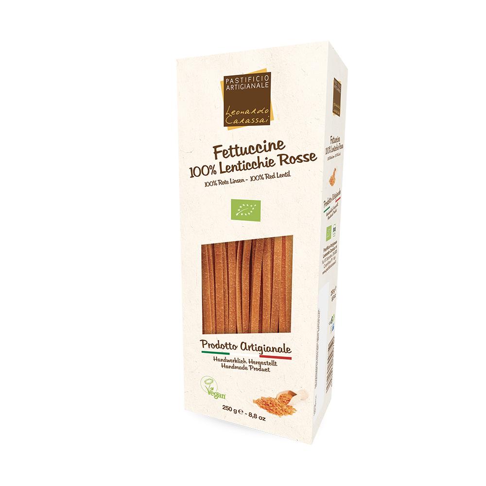 Fettuccine 100% Lenticchie Rosse con piselli, asparagi e datterini